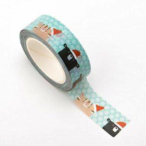 Washi Tape selbstklebend Weihnachtstiere 15mm x 10m Rolle