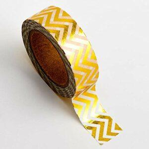 Washi Tape selbstklebend Folie glänzend Weiß/Gold gezackt 15mm x 10m Rolle