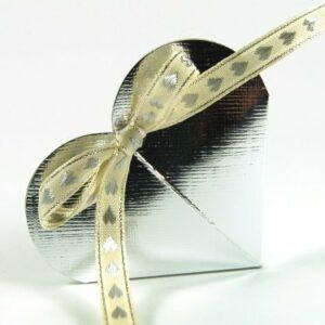 10 STÜCK Gastgeschenk, CUORE Seta silber mit Band creme/silber, gefüllt