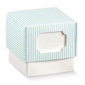 10 Stück Cube Schachtel mit Deckel Hellblau gestreift mit Ausschnitt zum Beschriften, 5 x 5 x 5 cm