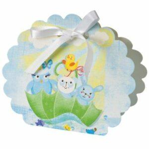 10 Stück Kartonage Baby Tiere hellblau, 5,8 x 4 x 8,5 cm