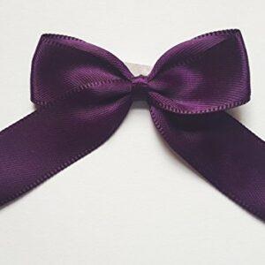 5 cm Satinschleife (Selbstklebend) 12 Stück – Aubergine – Dunkellila