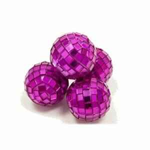 4 Stück Mini-Discokugel klein, Fuchsia, ca. 3 cm