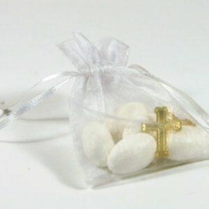 10 Stück Gastgeschenk Organzasäckchen weiß mit Kreuzen gold