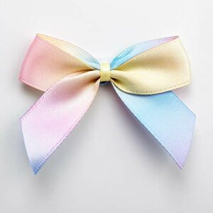 5 cm Satinschleife (Selbstklebend) 12 Stück – Pastell Regenbogen