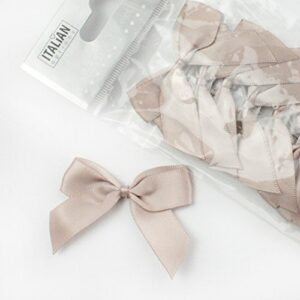 5 cm Satinschleife (Selbstklebend) 12 Stück – Taupe