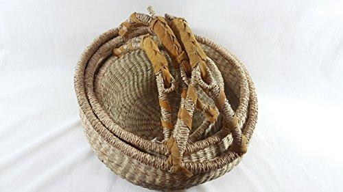 3 Stück Körbe rund aus Seegras Natur, Henkel mit Echt-Leder umwickelt, 28 cm, 35 cm und 38 cm