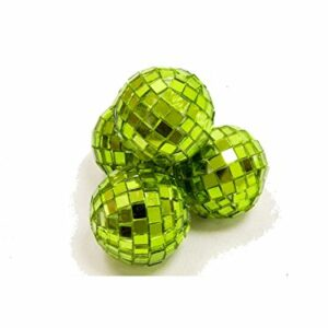 4 Stück Mini-Discokugel klein, Apfelgrün, ca. 3 cm