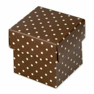 10 Stück Kartonage Fondo Dots braun, 5 x 5 x 5 cm