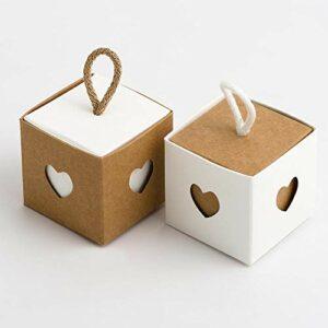2 Ton Schachtel quadratisch Natur und weiß, 5 x 5 cm, mit Kordel zum Aufhängen, 10 Stück