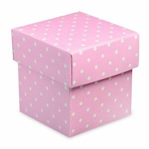 10 Stück Kartonage Fondo Dots rosa, 5 x 5 x 5 cm
