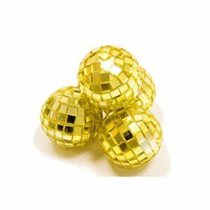 4 Stück Mini-Discokugel klein, Gold, ca. 3 cm