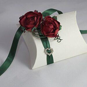 10 x Gastgeschenke 'Red Rose' Busta weiß, Band grün, Rosen, Dekoherz, gefüllt