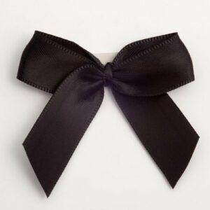 5 cm Satinschleife (Selbstklebend) 12 Stück – Schwarz