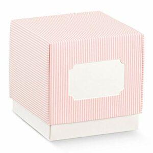 10 Stück Cube Schachtel mit Deckel Rosa gestreift mit Ausschnitt zum Beschriften, 5 x 5 x 5 cm