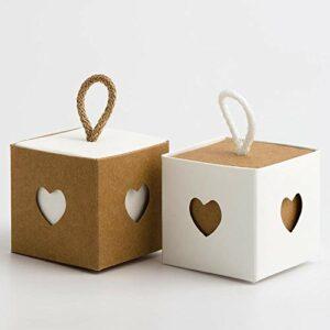 2 Ton Schachtel quadratisch Natur und weiß, 8 x 8 cm, mit Kordel zum Aufhängen, 10 Stück