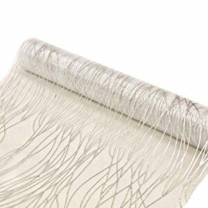 Organza-Tischband Tischläufer weiß mit silbernen Wellenlinien, 28 cm x 5 m