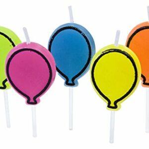 5 Kerzen 'Luftballon' in den Farben blau, grün, orange