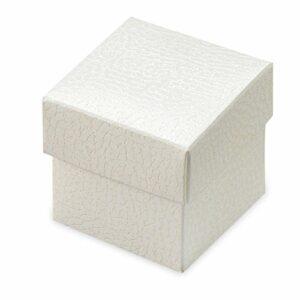 10 St Kartonage Pelle Bianco eckig mit Deckel, 5 x 5 x 5 cm