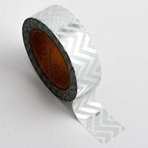 Washi Tape selbstklebend Folie glänzend Weiß/Silber gezackt 15mm x 10m Rolle
