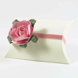 10 STÜCK Gastgeschenk BUSTA Seta weiss mit Papierrose rosa
