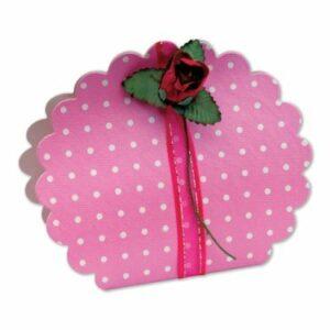10 Stück Kartonage Blume Dots rosa, 5,8 x 4 x 8,5 cm