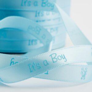 It's a Boy Satinband 10mm x 25m – Hellblau