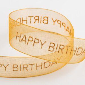 Happy Birthday Organzaband Gold – 25mm x 10 Meter