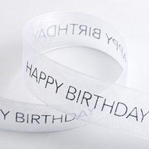 Happy Birthday Organzaband Weiß – 25mm x 10 Meter