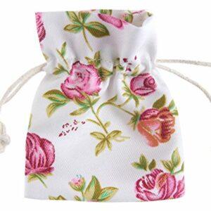 4 Stück Baumwollsäckchen Rosen, 5 x 10 cm