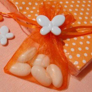 10 Stück Organzabeutel orange mit Schmetterling weiß