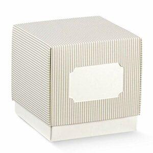 10 Stück Cube Schachtel mit Deckel Taupe gestreift mit Ausschnitt zum Beschriften, 5 x 5 x 5 cm