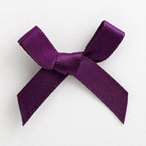 Mini Satinschleife 3cm aus 6mm Band (100 Stück) – Aubergine – Dunkellila