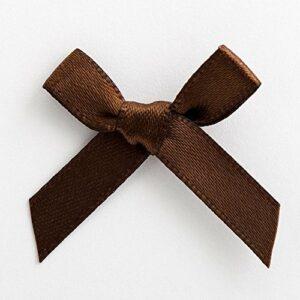 Mini Satinschleife 3cm aus 6mm Band (100 Stück) – Braun