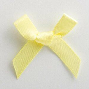 Mini Satinschleife 3cm aus 6mm Band (100 Stück) – Hellgelb – Pastellgelb