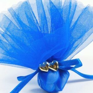 10 STÜCK Bonboniere mit Doppelherz gold, royalblau
