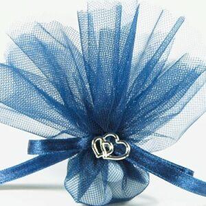 10 STÜCK Bonboniere dunkelblau mit Herzen silber