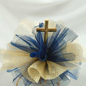 10 Stück Bonboniere gold und dunkelblau mit Kreuz gold