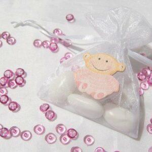 10 Stück Gastgeschenk Taufe, Organzabeutel weiß Holzbaby rosa