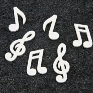 Streudeko Mini Noten & Notenschlüssel in weiss für Musiker & Musikfans, 24 Stück