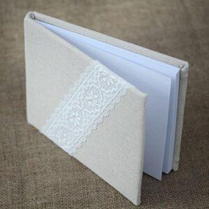 Leinen Gästebuch mit Spitze, 60 Seiten