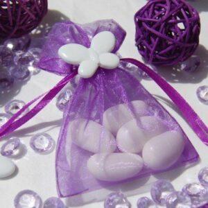 10 Stück Organzabeutel lila mit Schmetterling weiß