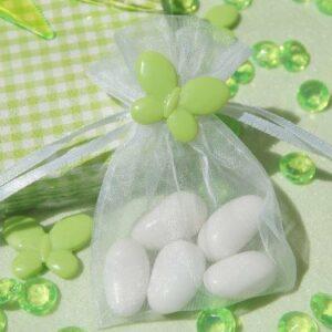 10 Stück Organzabeutel weiß mit Schmetterling apfelgrün