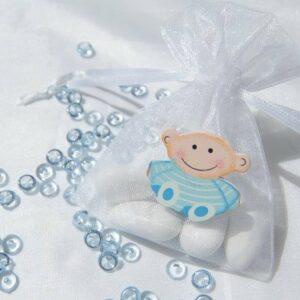 10 Stück Gastgeschenk Taufe, Organzabeutel weiß Holzbaby hellblau