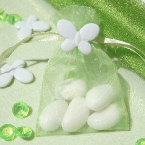 10 Stück Organzabeutel apfelgrün mit Schmetterling weiß