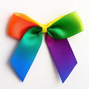 5 cm Satinschleife (Selbstklebend) 12 Stück – Regenbogen