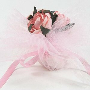 10 STÜCK Bonboniere mit Papierrosen rosa