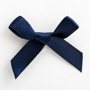 Mini Satinschleife 3cm aus 6mm Band (100 Stück) – Marineblau – Dunkelblau