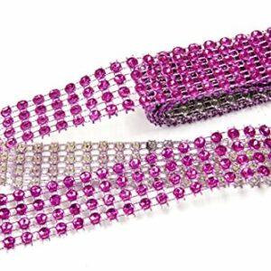 Strassband, Pink, 4-Reihig, 2 cm x 1,8 m