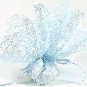 10 Stück Bonboniere Spitze hellblau